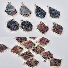 Spring Alloy plate pendant imitation shellfish effect rhomboid round droplet DIY earrings material Accessories