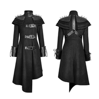 Gothic Killers Women Rivets Shoulder Stand Up Collar Asymmetrical Long Coat Asymmetric Wool Military Rivet Leather Jacket