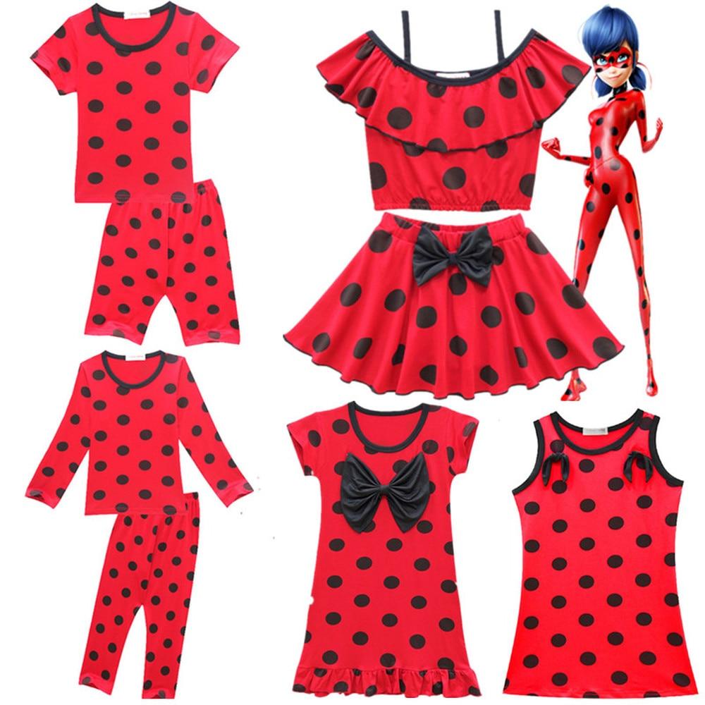 New Beach Miraculous Ladybug Bikini Girls Clothing Pajamas Sets Costumes for Girls Kids Ladybug Marinette Cosplay Girls Dresses