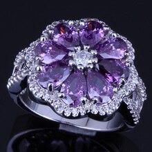 Rare Flower Purple Cubic Zirconia White CZ 925 Sterling Silver Ring For Women V0089
