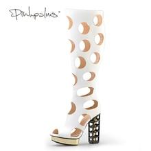 Pink Palms women summer shoes high heels metallic wedges fretwork heels boots hollow out sandals classic knee-high boots