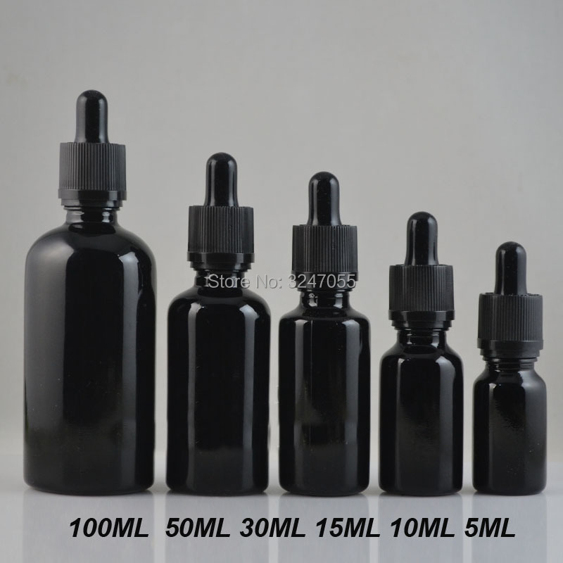 10ml15ml30ml50ml100ml Black Empty Glass Cosmetic Essential Oil Bottle, Elegant Glass Pipettes Dropper Bottle, Cosmetic Packing цена