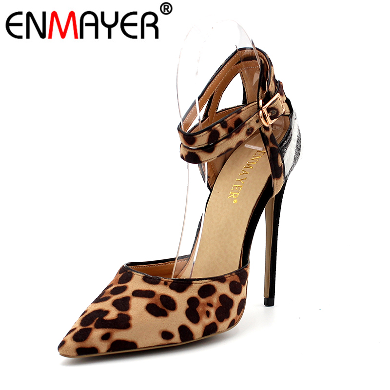 ENMAYER Super High Heels Pumps Cover Heel Buckle Pointed Toe Hot Sexy Shoes Women Leopard Banquet Wedding Show Shoes Big Size 43 spring autumn shoes woman pointed toe metal buckle shallow 11 plus size thick heels shoes sexy career super high heel shoes