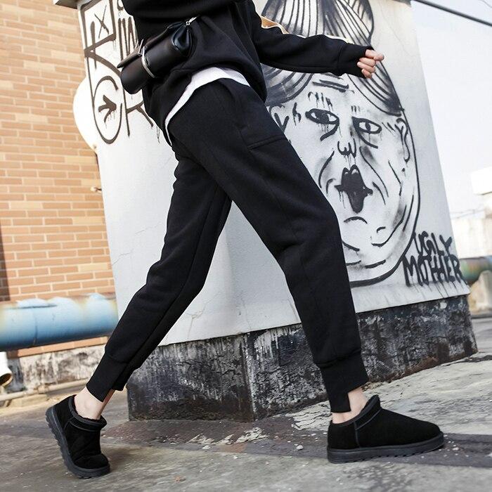 Streetwear Casual Black Women Thick Pants Capri High Waist Loose Female Trousers Korean Style Ladies Front Short Backside Long
