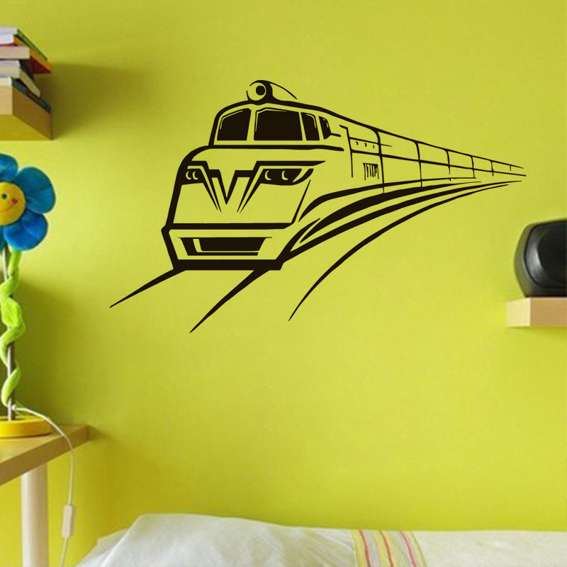 Fast Railway Vinyl Wall Sticker Kids Rooms Art Murals Super Quality Train Wall Decals Home Decor For Living Room