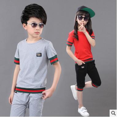 Niños niñas traje de manga corta 2016 nuevos niños del verano de algodón casual Camiseta grande virgen cortocircuitos de una pieza de ropa de niño 3-12 años
