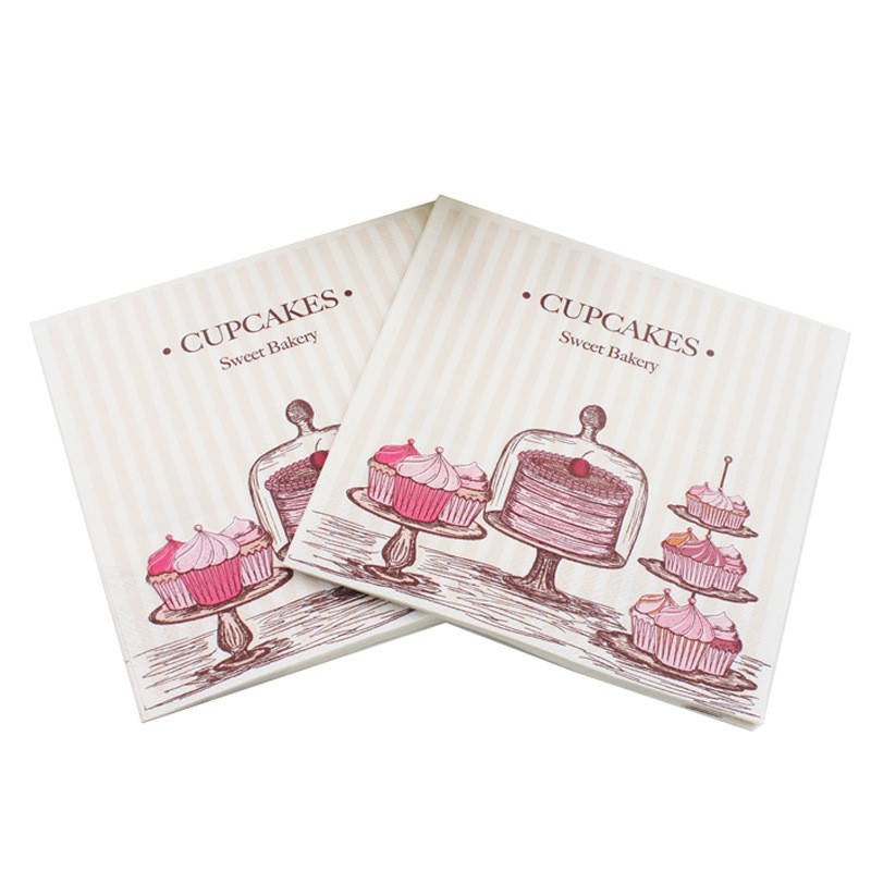 New Lunch paper napkins-20pcs 33x33cm printed paper napkin for decoupage pink cake napkins for wedding birthday party