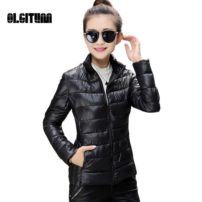 OLGITUM 2017 Fashion Winter women coat jacket Ultralight slim outwear cotton padded warm jacket outwear Tops for women
