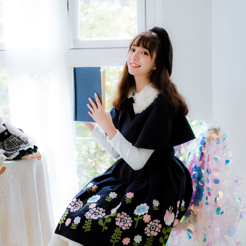 Miss Bernard ~ Sweet Embroidered Wool Dress with Cloak by Miss Point ~ Custom Tailored платье sweet miss sweet miss sw014ewausu4