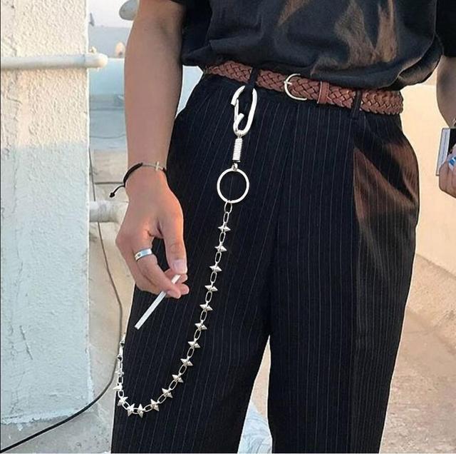 75 cm Moda Longo Metal Cadeia de Rebite Do Punk Rock Calças Hipster Calça Jean Keychain Anel Clipe Chaveiro Acessórios HipHop