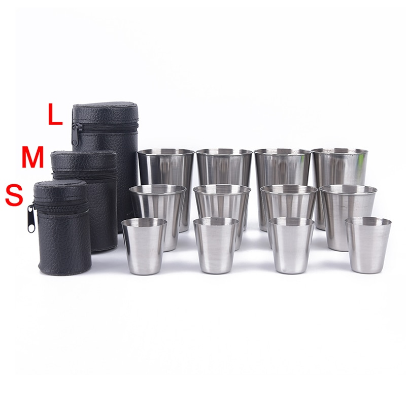Tableware Cover Travel-Cups-Set Mug-Drinking Beer Coffee Camping-Cup Stainless-Steel