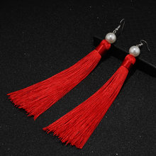 2018 New Women Long Tassel Earrings Bohemian Trendy Retro Eardrop With Pearl Black Silk Fabric Flower Women Dangle Jewelry(China)