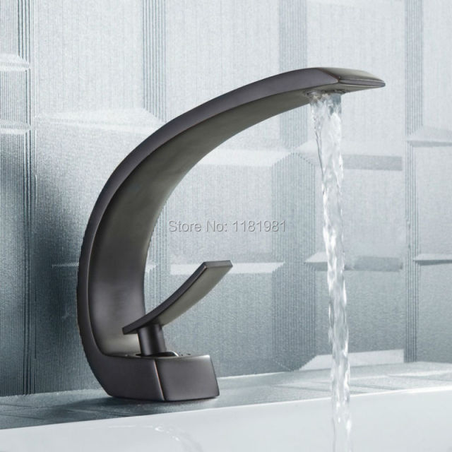 Hot Selling Black Plated Waterfall Water Outlet Deck Mounted Basin - Bathroom faucet outlet