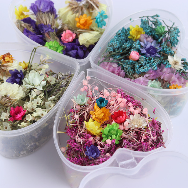 3D Nail Art Decoration Mixed Dried Flowers Preserved Flower With Heart Shape Box DIY Tips Manicure Nail Art Decoration