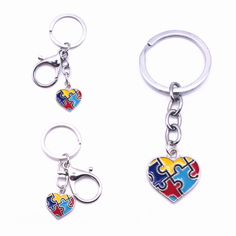 Nova chegada autismo coração encantos chaveiro colorido autismo consciência quebra-cabeça peças chaveiro & chaveiro jóias 1pcs