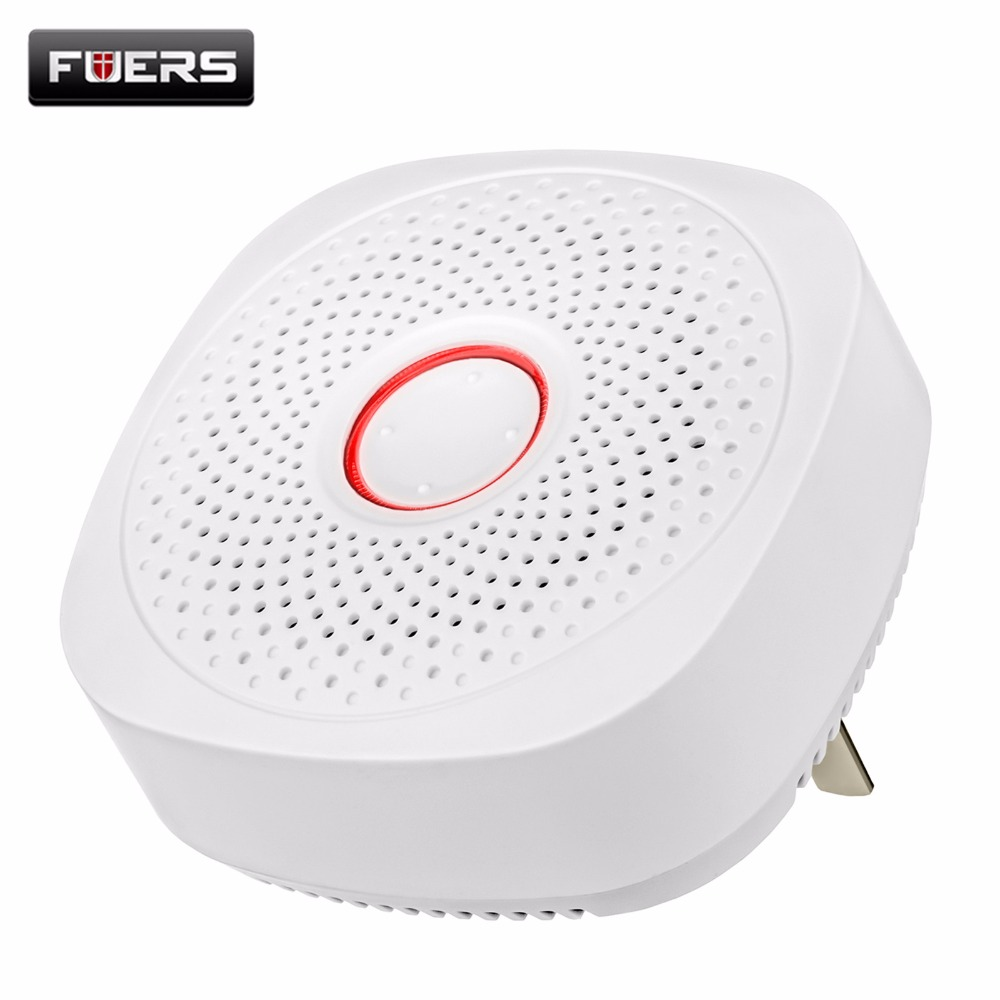 Fuers 433MHZ Wireless Gas Detector Natural Gas Alarm Safety Device AC 220V Kitchen Security Gas Alarm Sensor for Home Security new safurance wireless digital natural gas detector alarm clock sensor propanectester high sensitive home security
