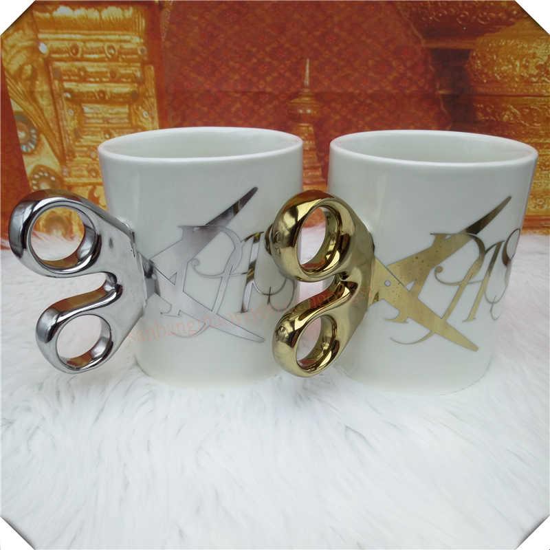 مقص نموذج القدح جديد رائع أكواب القهوة فنجان شاي هدايا فريدة طلاء الذهب والفضة تصفيح القدح هدية عيد ميلاد 6ZDZ258