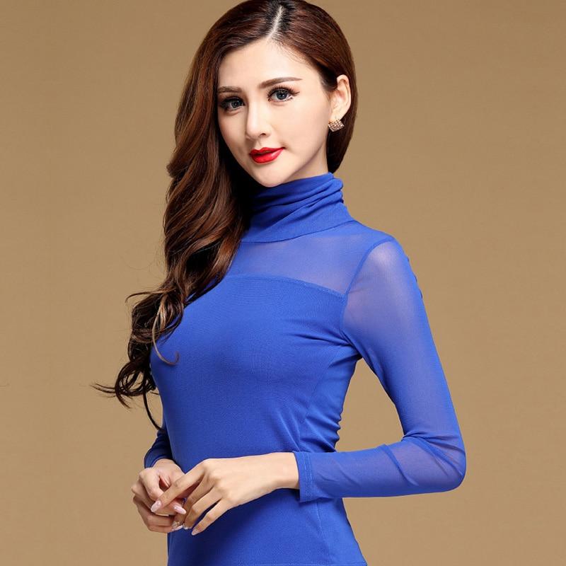 Мрежи с дълъг ръкав 2018 есенни дамски тениски модни ежедневни елегантни тънки секси дамски ризи Turtleneck Plus размер Дамски блуза