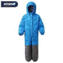 Moomin 2020 nouveaux garçons hiver barboteuse simple boutonnage garçons vêtements dhiver à capuche bleu géométrique bébé garçons hiver chaud snowsuit