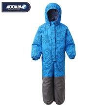 Moomin 2020 novos meninos inverno macacão único breasted meninos roupas de inverno com capuz azul geométrico do bebê meninos inverno quente snowsuit
