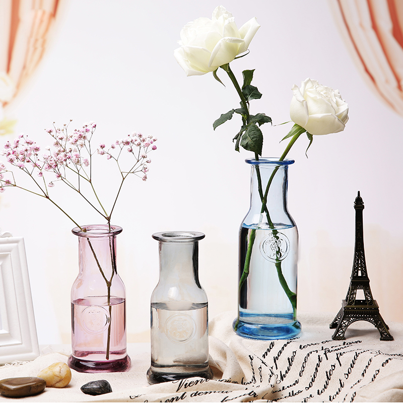 Europe Colorful Glass Vase Small Mouth Tabletop Vases Terrarium