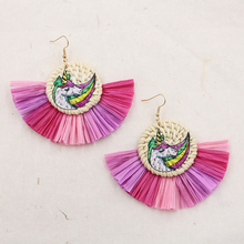 Handmade Unicorn Flamingo Cactus Straw Rattan Earrings for Women Trendy Tassel Raffia Earring Wicker Wooden Earrings Gifts цена