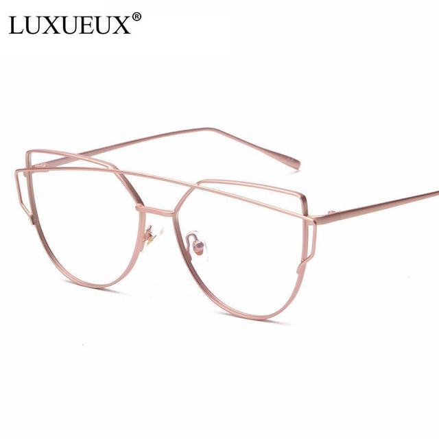 42e2acb719 Trendy Women Eyewear Cat Ear Rose Gold Metal Frame Twin-Beams Women Optical  Eyeglasses Fashion Designer Glasses Frames For Women