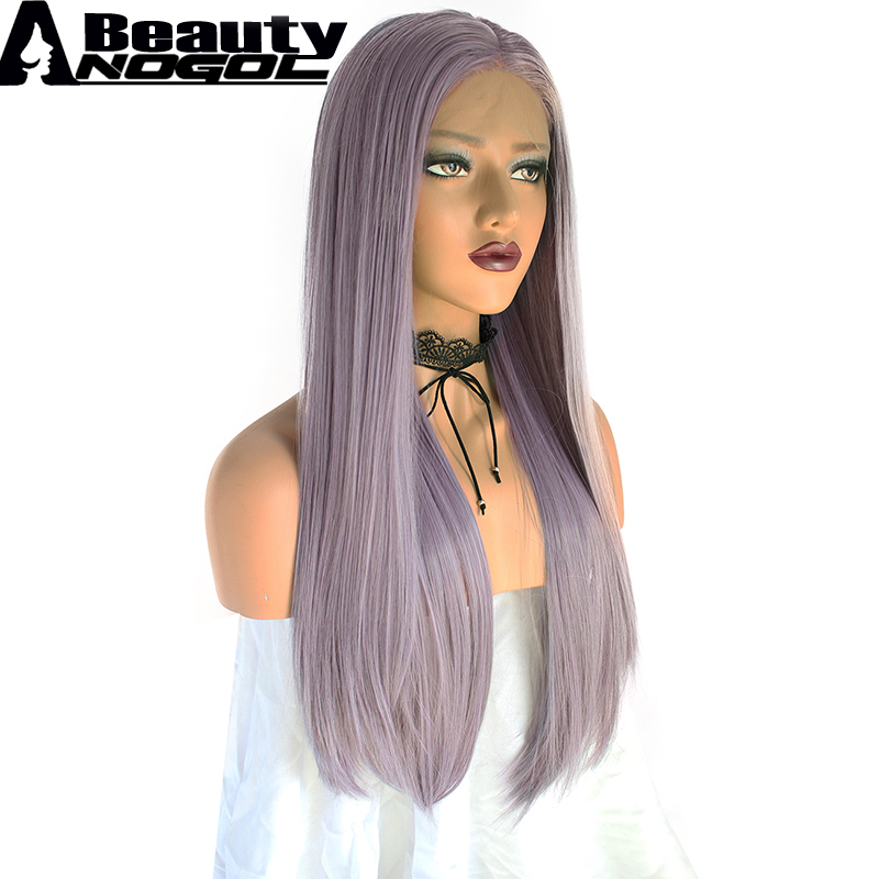 ANOGOL BEAUTY High Temperature Fiber Perrque Long Straight Hair Wigs Purple Full Wigs Synthetic Lace Front Wig For Women Cosplay
