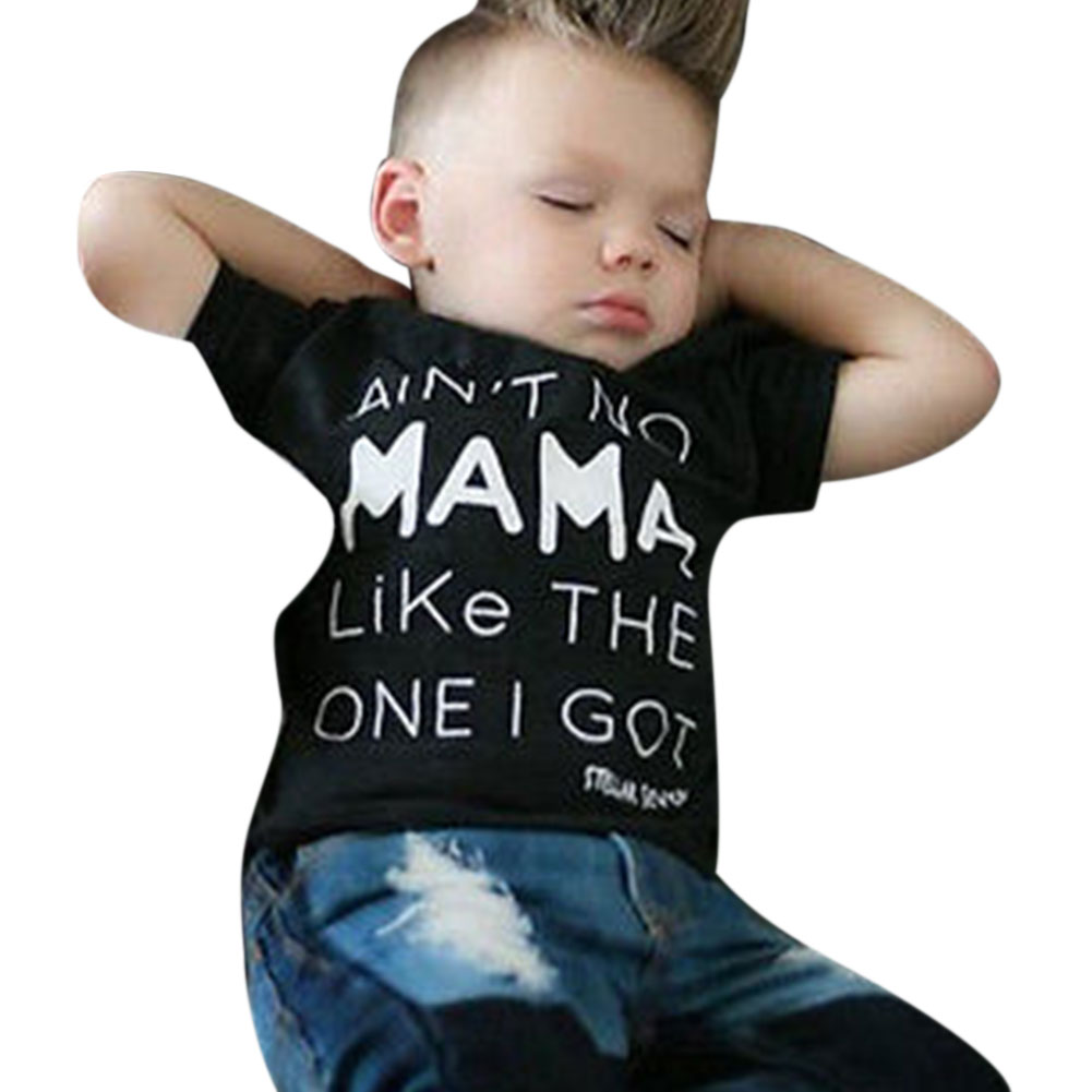 2pcs Summer Children Boys Cloth Set Fashion Short Sleeve T-Shirt + Long Denim Pants Trousers Outfit