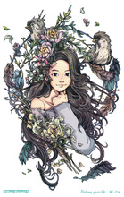 MC714 19X12cm HD Large Tattoo Sticker Body Art Birds Girl Flowers Temporary Tattoo Terrorist Stickers Flash Taty Tatoo