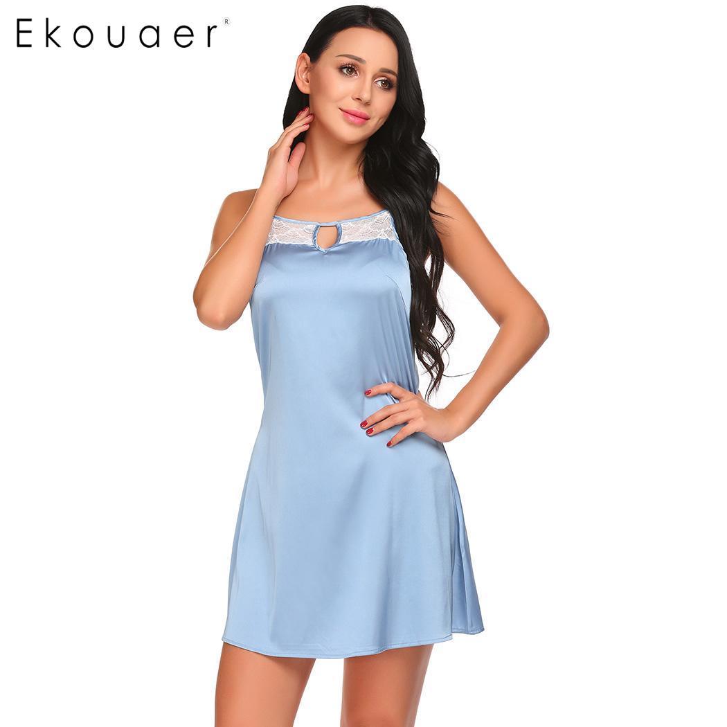 947ed6c8f4a15 Ekouaer Nighties Sleepwear Dress Women Backless Lace Trim Sleeveless  Nightdress Sexy Nightgown Soft Homewear Mini Night