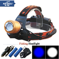 2016 2 x Cree Q5 White Blue Light Fishing Zoomable Headlamp waterproof Head Light Flashlight Use the 18650 rechargeable battery