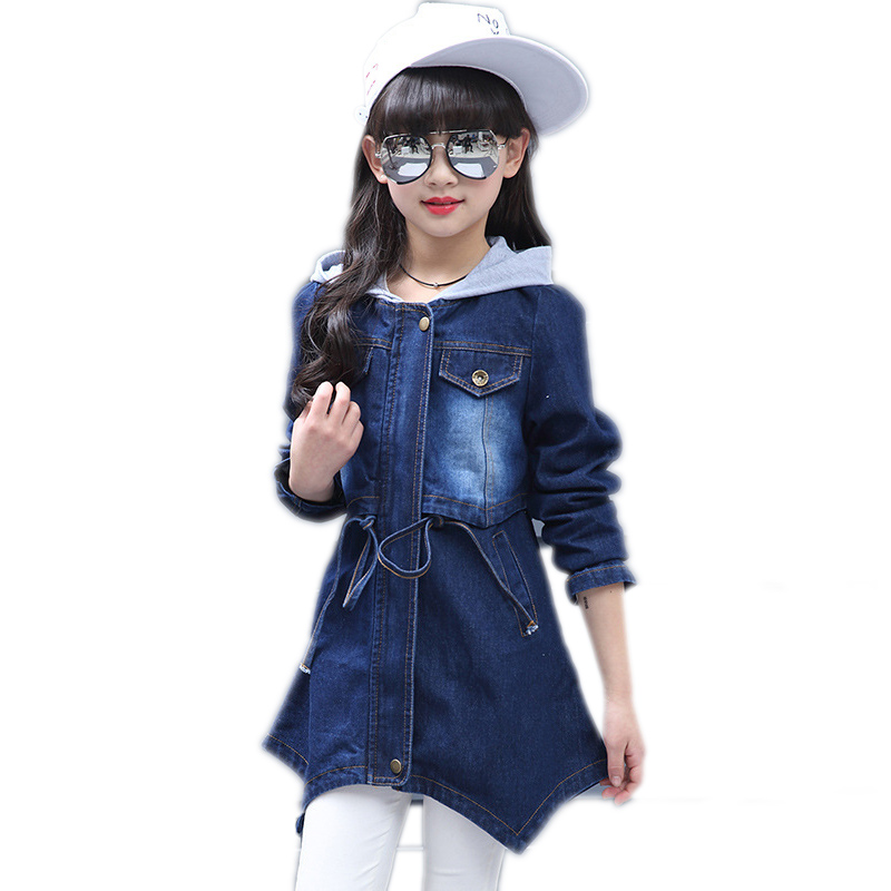 New 4-13Y Autumn Girl Denim Jackets Coats Outerwear Children Clothing Hooded Patchwork Long Girls Jeans Coat Kids Trench Jacket scratch kids girls outerwear denim jeans jackets for children embroidery flower baby girl coats infant autumn clothing outfits