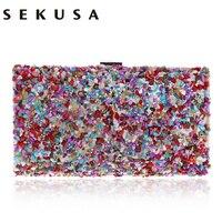 SEKUSA Diamonds Candy Evening Bag Summer Fashion Female Small Day Clutch Shoulder Chain Handbags Phone Key