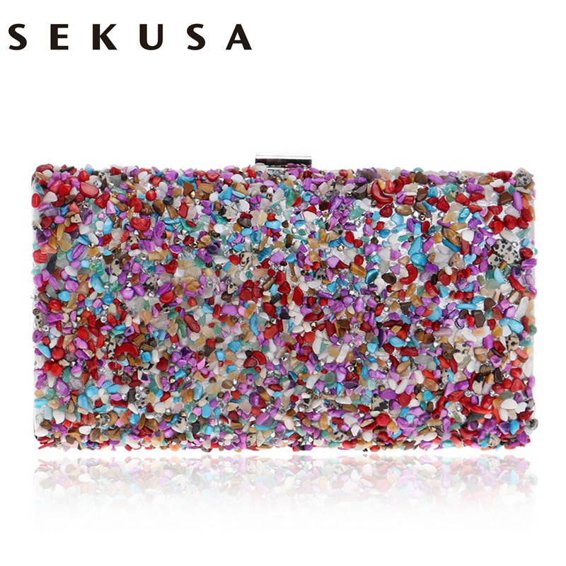 SEKUSA Diamonds Candy Evening Bag Summer Fashion Female Small Day Clutch Shoulder Chain Handbags Phone Key Wallets