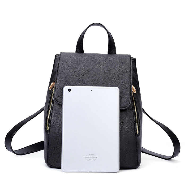 Ransel Fashion Mini Ransel Dompet Tinggi Kualitas Wanita Tas Bahu Pu Kulit untuk Anak Perempuan School Tas Hitam 2019 FM-001