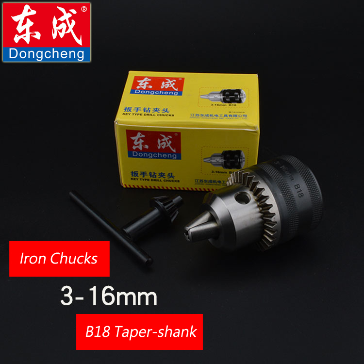 Spanner Drill Chuck 16mm Iron Chuck For Electric Drill, Max. Capacity 3-16mm, Bore Diameter B18 Taper-shank mt 2 morse taper shank with 3 16mm spanner chuck 2 morse taper shank b16 heavy spanner drill chuck for twist drills chuck