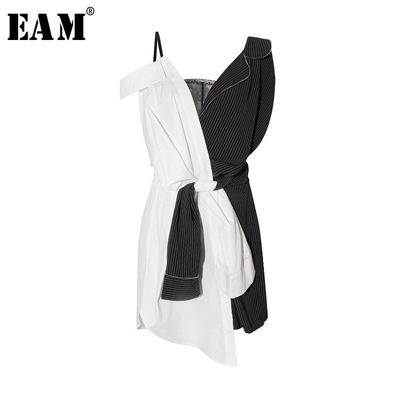 [EAM] 2018 New Summer Striped Spliced Waist Lace Up Backless Asymmetric Length Dress Women Fashion Tide Temperament LA558