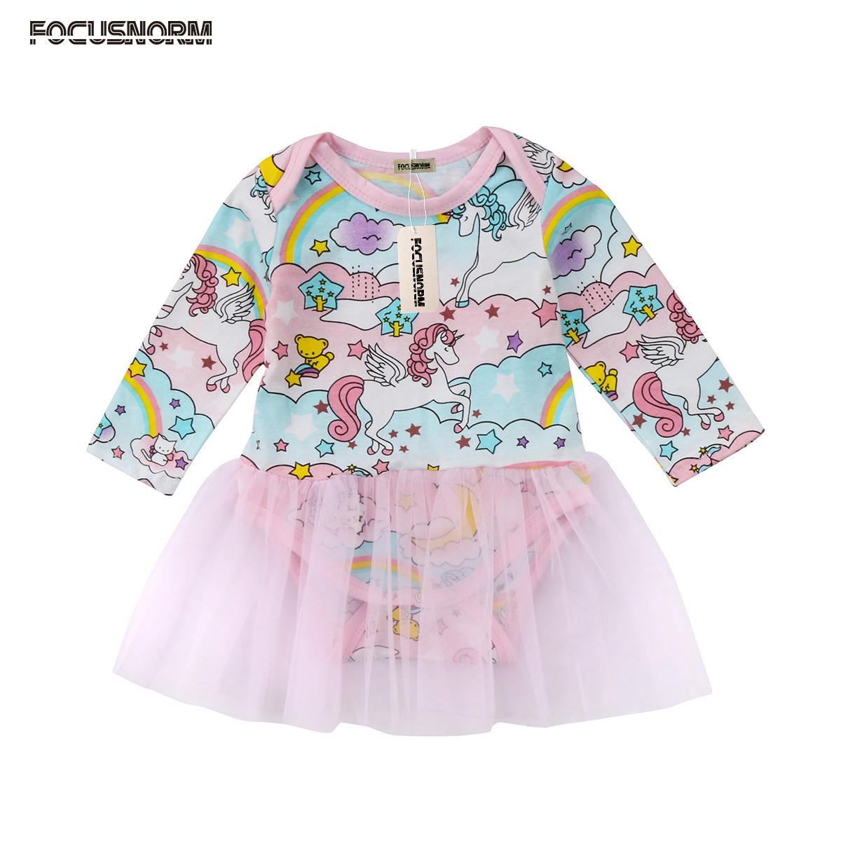 Newborn Baby Girls Unicorn Cartoon Long Sleeves Romper One Piece Tulle Jumpsuit Romper Dress Clothes