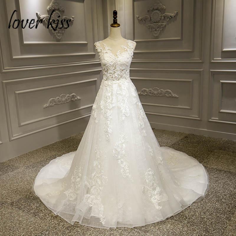 Lover Kiss Vestido De Noiva 2020 Boho Wedding Dresses Lace Appliques Beaded Bohemian Summer Dress Wedding Bridal GownBrautkleid