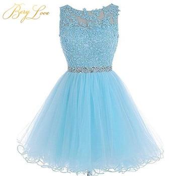 508ce117b Azul corto de tul vestido de fiesta 2019 cerradura Mini con cuentas de  encaje de baile vestidos Plus tamaño Vestido corto vestido de graduación.