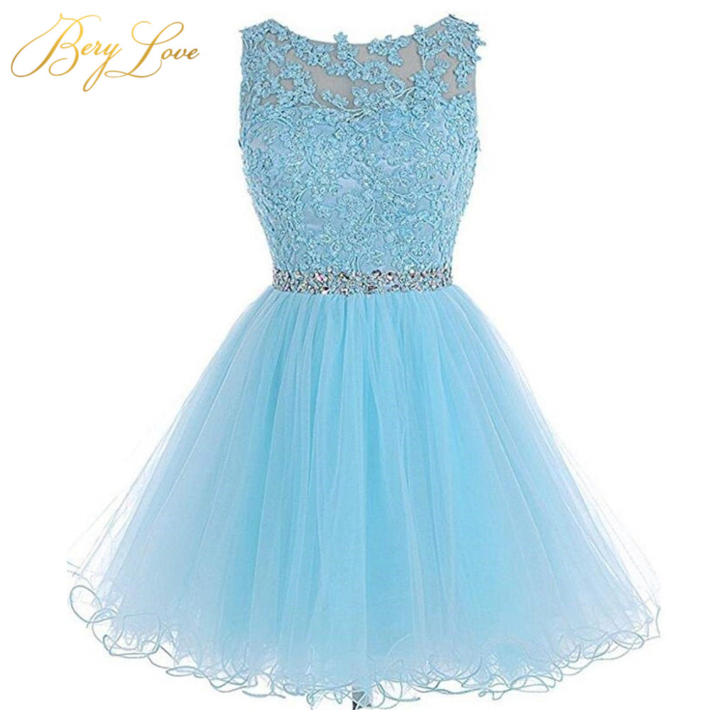 Short Blue Tulle Homecoming Dress 2020 Keyhole Mini Beaded Lace Homecoming Gowns Plus Size Short Prom Dress Graduation Dress