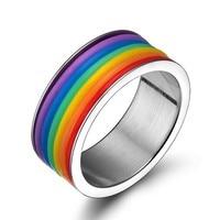 Mprainbow Women Rings Stainless Steel Rainbow Colorful Striped Ring Lines Enamel Fashion Jewelry Unisex Anel Feminino Ringen