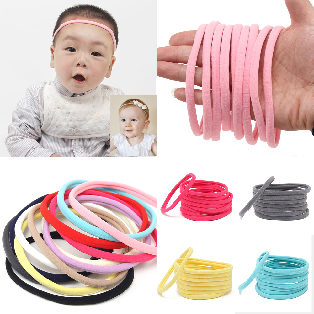 10PC Baby Soft Skinny Nylon Headbands Elastic Hair Bands DIY Cute Lovely Solid Color Girls Kids Seamless Hair Accessories Gifts