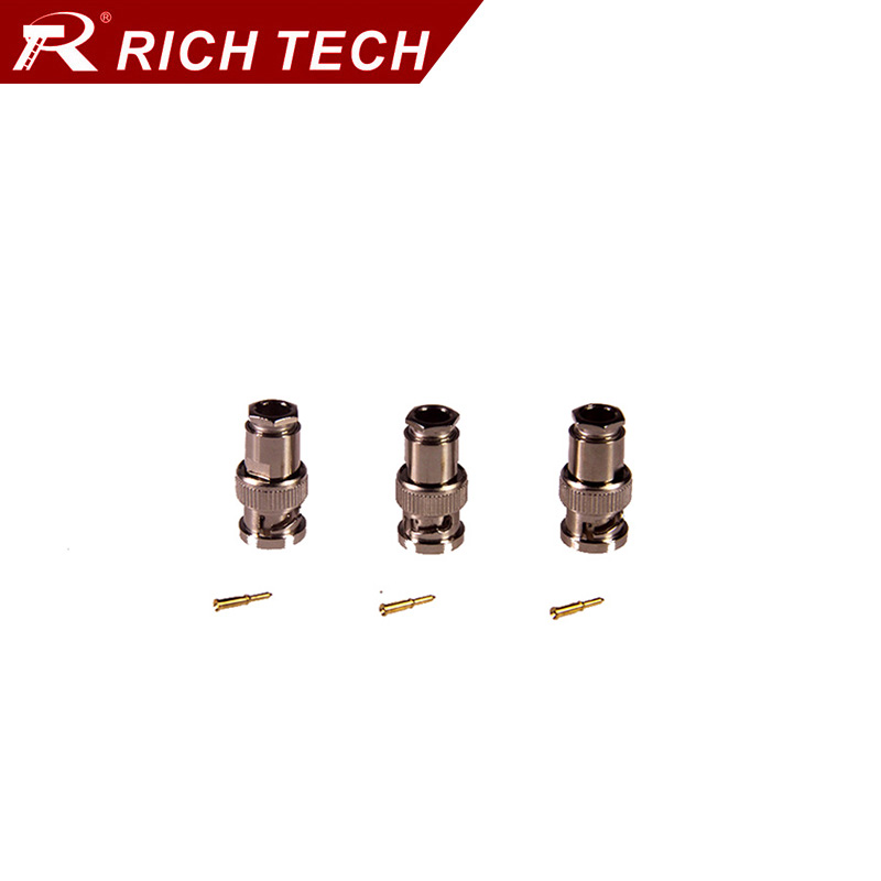 5pcs high quality nickel plated BNC male plug adapter RG58/RG59/RG6 for options BNC connector for CCTV system RF cable converter  цены