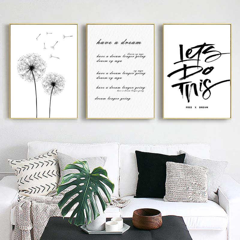 Siyah beyaz harfler kanatları sinek bitki renk oturma odası için tuval boyama ev dekorasyon sanat posterleri baskılar dekor duvar resimleri