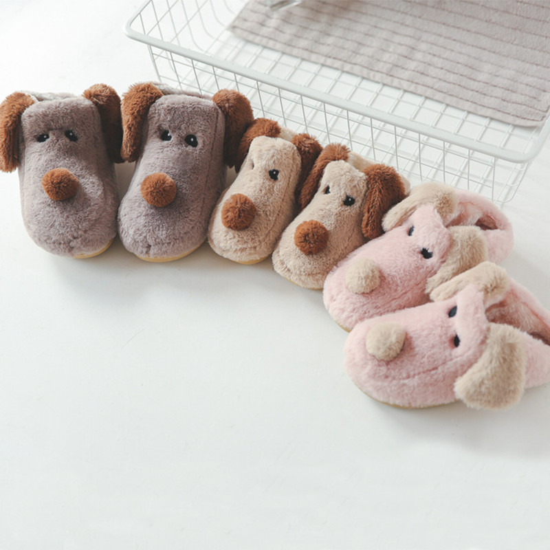 FAYUEKEY New Fashion Winter Soft Sole Home Cartoon Dog Cotton Slippers Women Indoor Floor Bedroom Men Lover Warm Slippers Shoes 5