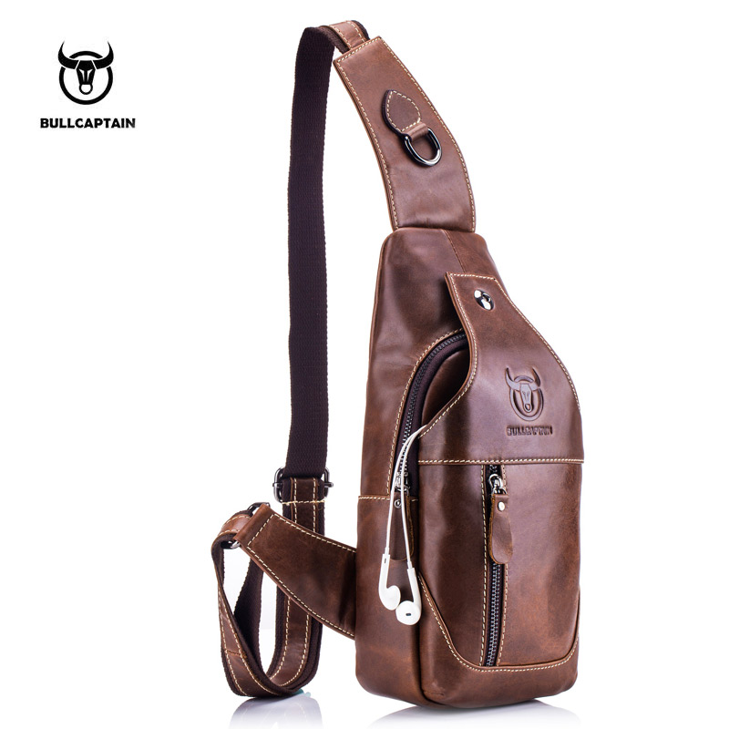 BULLCAPTAIN Fashion Äkta Läder Crossbody Väskor Män Casual Messenger Bag Liten Brand Designer Man Shoulder Bag Bröst Pack