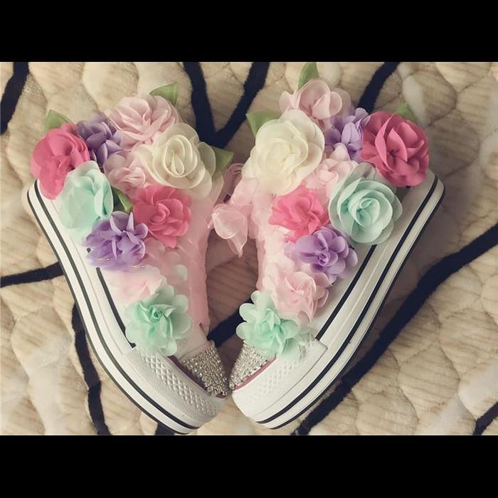 Toile Femmes Augmentation Nouvelles Couleur 2018 Haute forme Fleurs Plate Épais Chaussures Personnalisé Koovan Noir Correspondant De Rhinstone AxdwXqggf