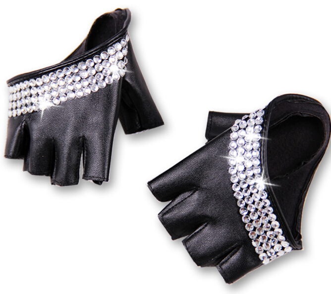 Women's Fashion Half Palm Semi- Finger Pu Leather Rhinestone Gloves Men's Fingerless Hip-hop Personality Diy Gloves